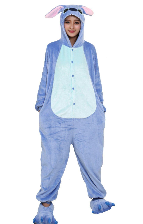 Emmarcon - Disfraz de carnaval halloween pijama cálido de animales kigurumi cosplay zoológico onesies S/altezza 149-159cm,max 60kg Stitch azzurro