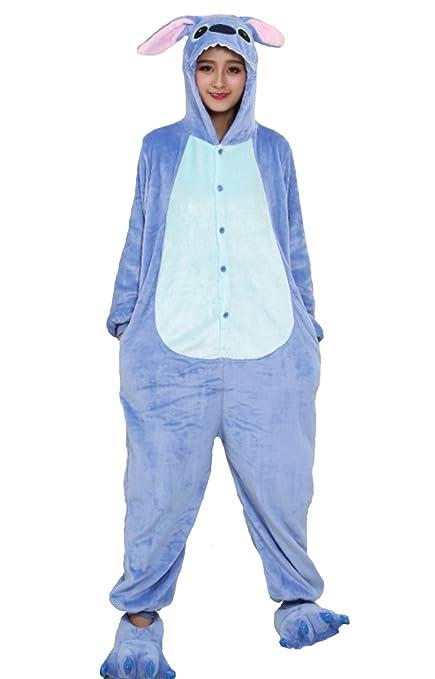 più recente 32534 8266f Hot Unisex Costume Carnevale Halloween Pigiama Animali Kigurumi Cosplay Zoo  Onesies tuta-S/149-Stitch Azzurro
