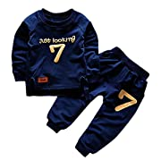 puseky Toddler Baby Boys Girls Sweatshirt Tops + Pants Tracksuits Outfits Clothes (1T-2T, Dark Blue)