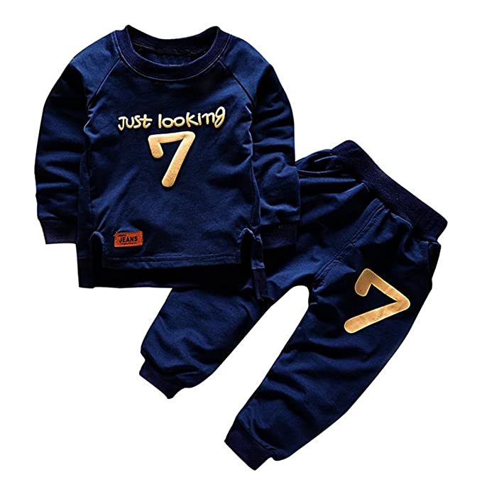 c28e99d85e3d Amazon.com  puseky Toddler Baby Boys Girls Sweatshirt Tops+Pants ...