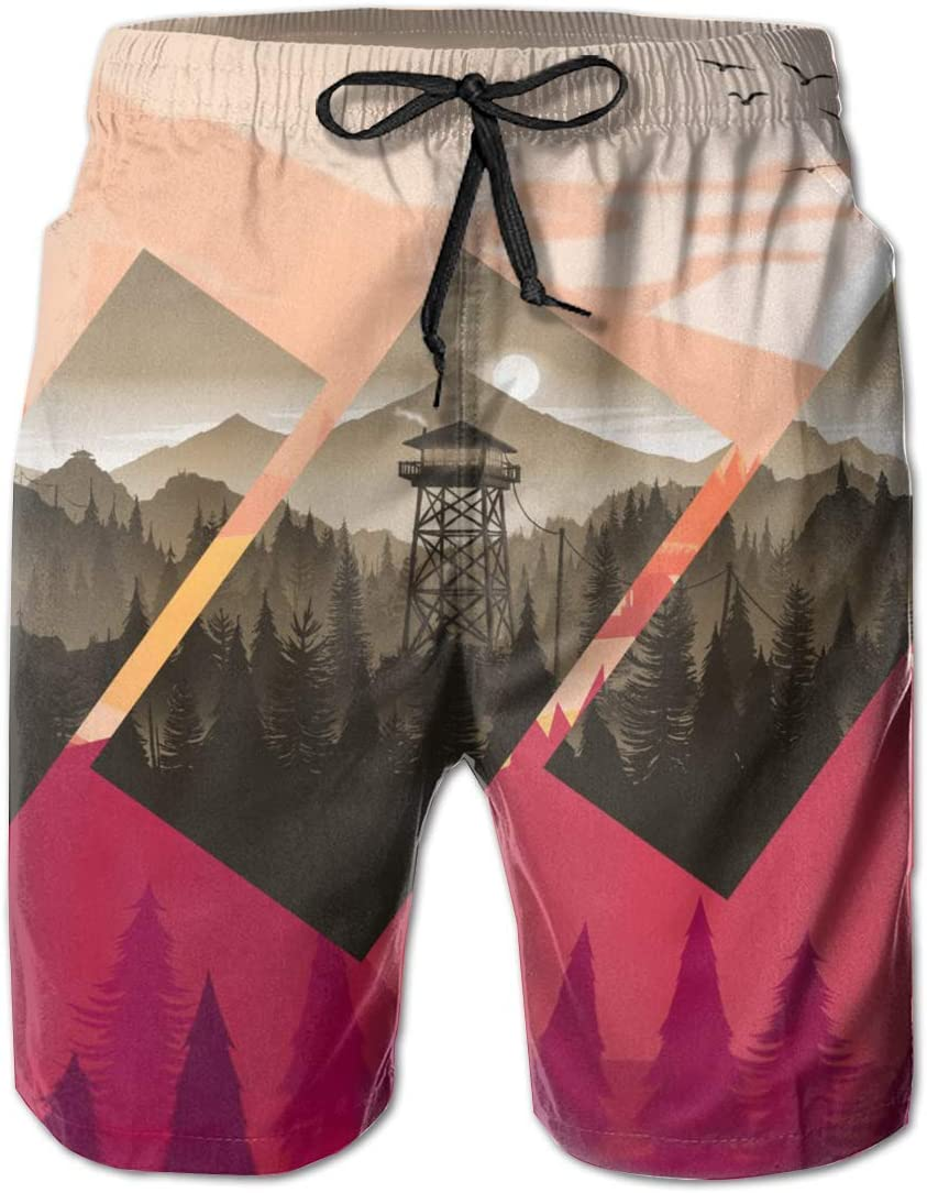 Mens Polyscape Seen Through Rectangle Shorts Pockets Swim Trunks Beach Shorts,Boardshort