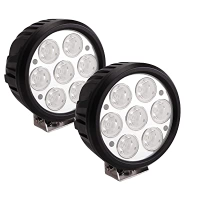 Lightronic 6.5 Inch Round 70W 7000 Lumens 6000K Super Bright 8° Spot Beam LED Off Road Fog & Driving Light (2 Pack): Automotive
