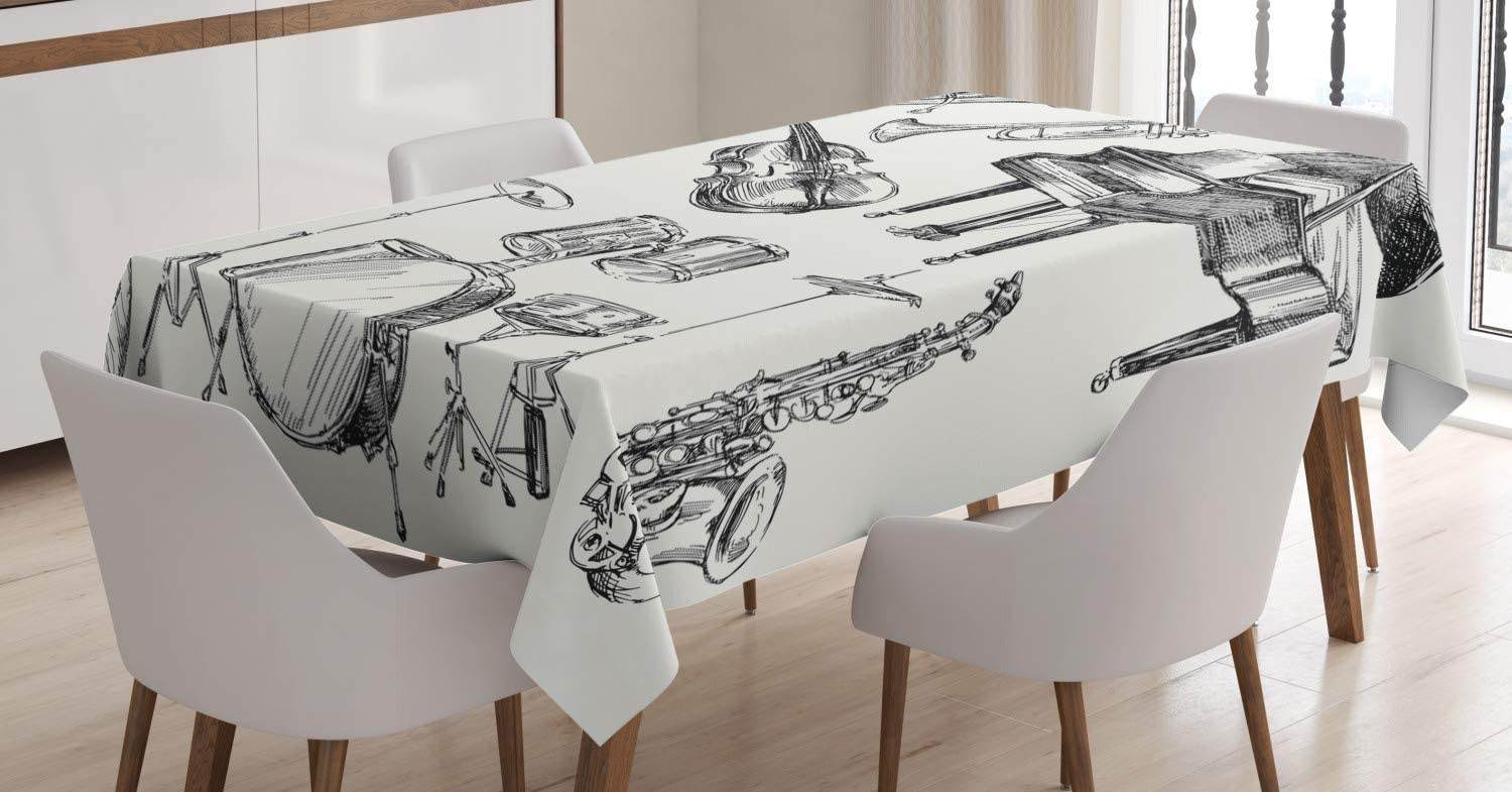 Ambesonne Jazz Music Tablecloth, Illustration of Musical Instruments Sketch Style Art with Trumpet Piano Guitar, Dining Room Kitchen Rectangular Table Cover, 60