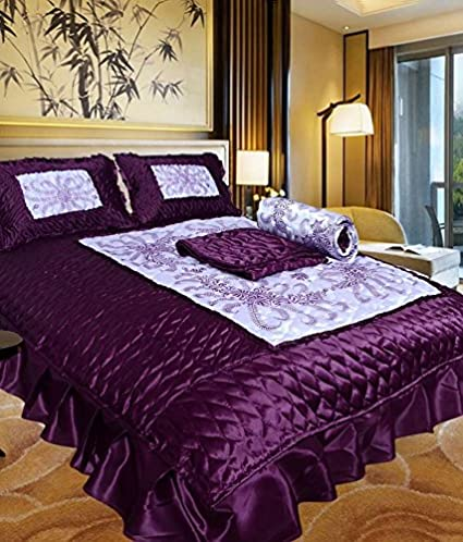 CHelsi Home DaCor Satin Bedding Set 1 Double Bed Bedsheet, 2 Pillow Cover, 1 Ac Comforter - Pack of 4 Pcs, Purple