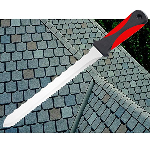 Keyfit Tools CUTS ALL KNIFE, Stainless Steel Box Cutter Utility Roofing Knife Shingles Carpet Knife Blade Double Sided Serrated Blade for Cardboard Carpet Linoleum Drywall Vinyl flooring Double Sided Stainless Cutter