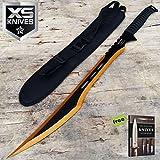 27'' DEATHSTROKE MACHETE 2 TONE Blade GOLD & BLACK Full Tang Tactical Ninja Sword Carbon Steel Sharp Blade + Free eBook by SURVIVAL STEEL