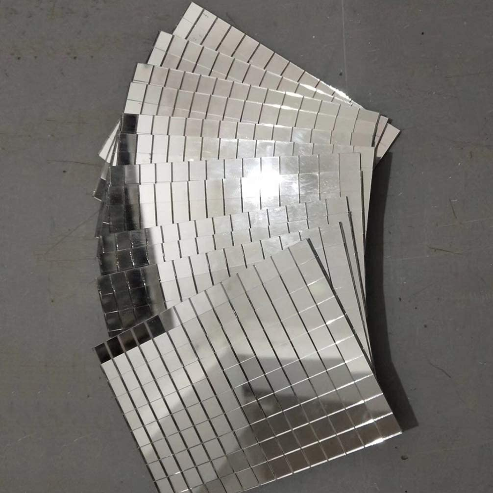 Free Size POHOVE Autoadesivo Mini Quadrato Vetro Decorativo Craft Mattonelle di Mosaico Rimovibile Festa Specchio Adesivi Argento
