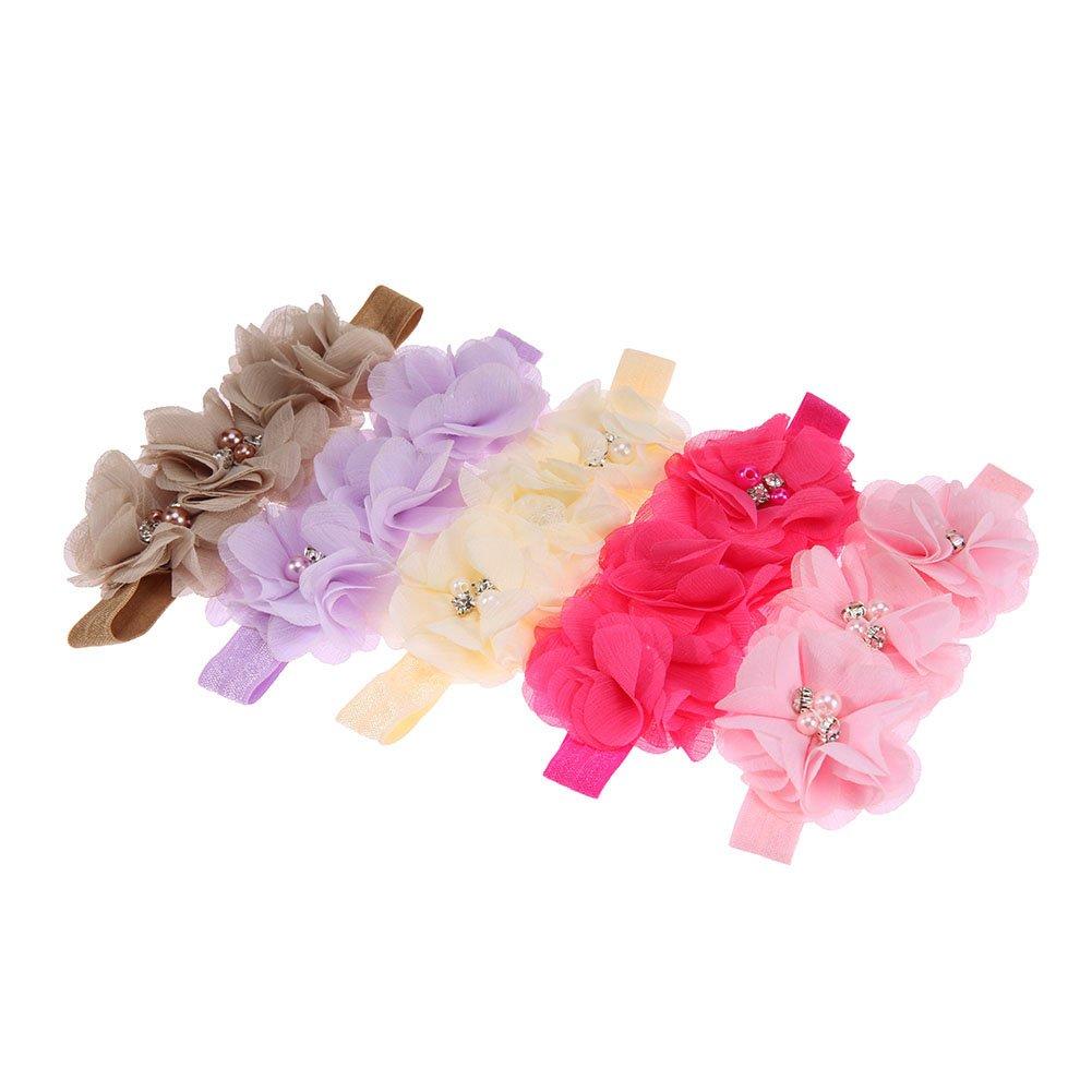 La Cabina Lot de 5PCS Bandeau de Bébé Fille Bande de Cheveux Elastique Floral Coiffure de Fille Décoration Cheveux Multicolore pour Photographie