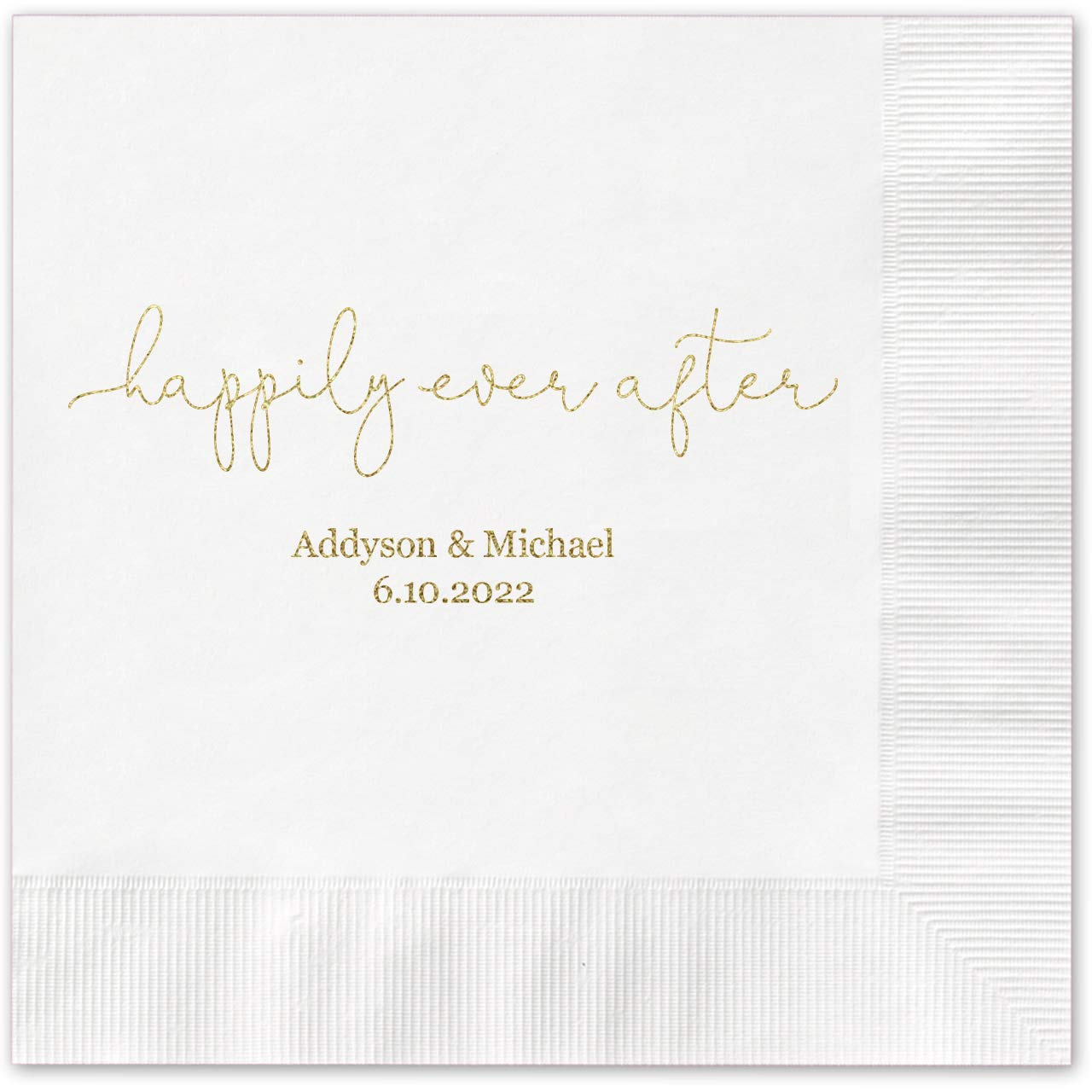 Happily Ever After Personalized Luncheon Napkins - 100 Custom Printed White Paper Coined Napkins with a choice of foil. 6 1/2'' x 6 1/2'' folded, Made in the USA