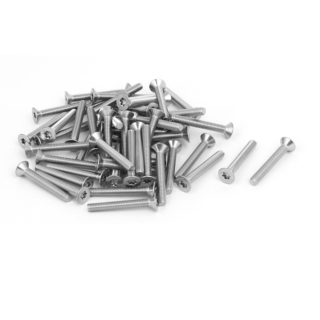 Portal Cool M4x30mm 304 Stainless Steel Flat Countersunk Head Torx Screws Silver Tone 50pcs Wide Spread