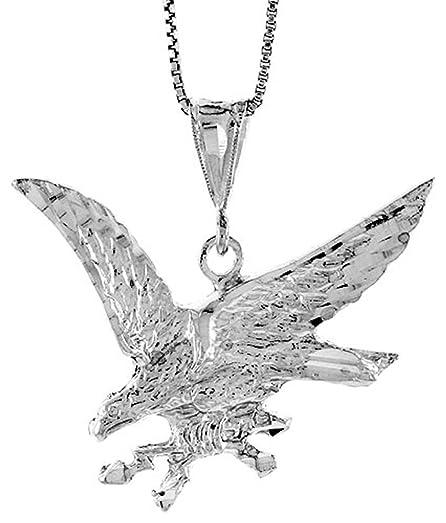 Diamond cut sterling silver flying american eagle pendant necklace diamond cut sterling silver flying american eagle pendant necklace mozeypictures Gallery