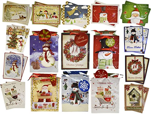 Pack Card Single (12 Christmas Glitter Cards 12 Foil Cards With 6 Glitter Bags Perfect For The Holidays! (Single Pack))