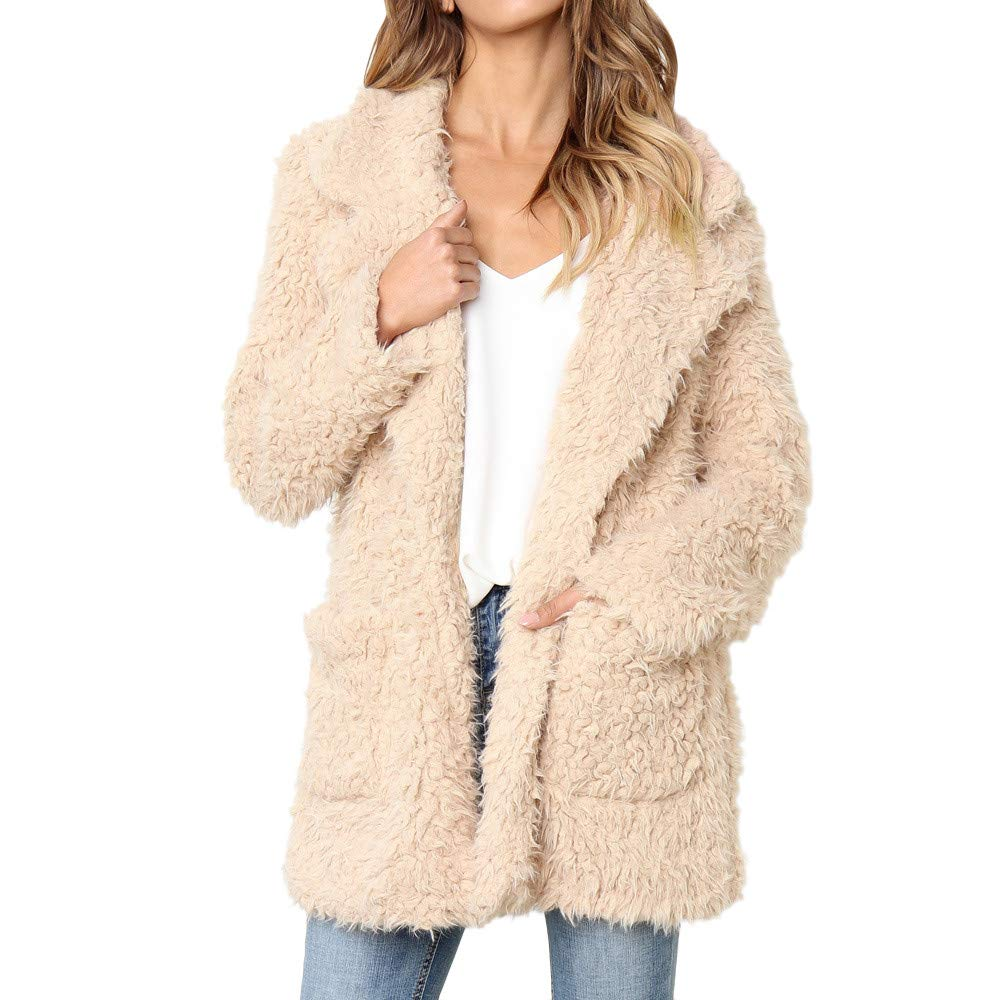 Nadition Women Sweater Fashion Ladies Warm Pure Color Artificial Wool Coat Jacket Lapel Winter Outerwear