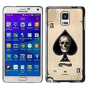 Cubierta protectora del caso de Shell Plástico || Samsung Galaxy Note 4 SM-N910 || Ace Spades Skull Black Poker Cards @XPTECH