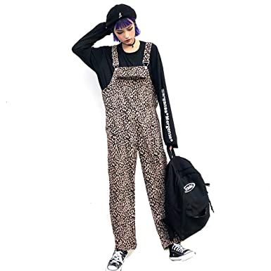 5469e88546a YAXAN Women s Stylish Casual Leopard Printed Loose Long Bib Pants Overall  Jumpsuits Jogger (Color   Brown