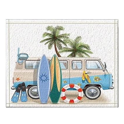 Decoración de surf Tabla de surf Palm Tree Lifebuoy Apoyado en campanas de baño Minivan Alfombras