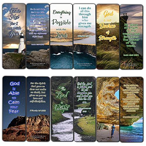Scriptures Bookmarks - Bible Verses About Strength (60 Pack) - Perfect Gift Away for Sunday School and Ministries (The Nine Fruits Of The Holy Spirit Catholic)