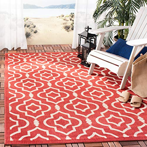 (Safavieh Courtyard Collection CY6926-248 Red and Bone Indoor/ Outdoor Area Rug (5'3