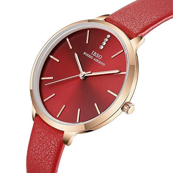 Amazon.com: IBSO Female Watches Leather Strap Round Case Fashion Women Watch for Sale(6603-Red): Watches