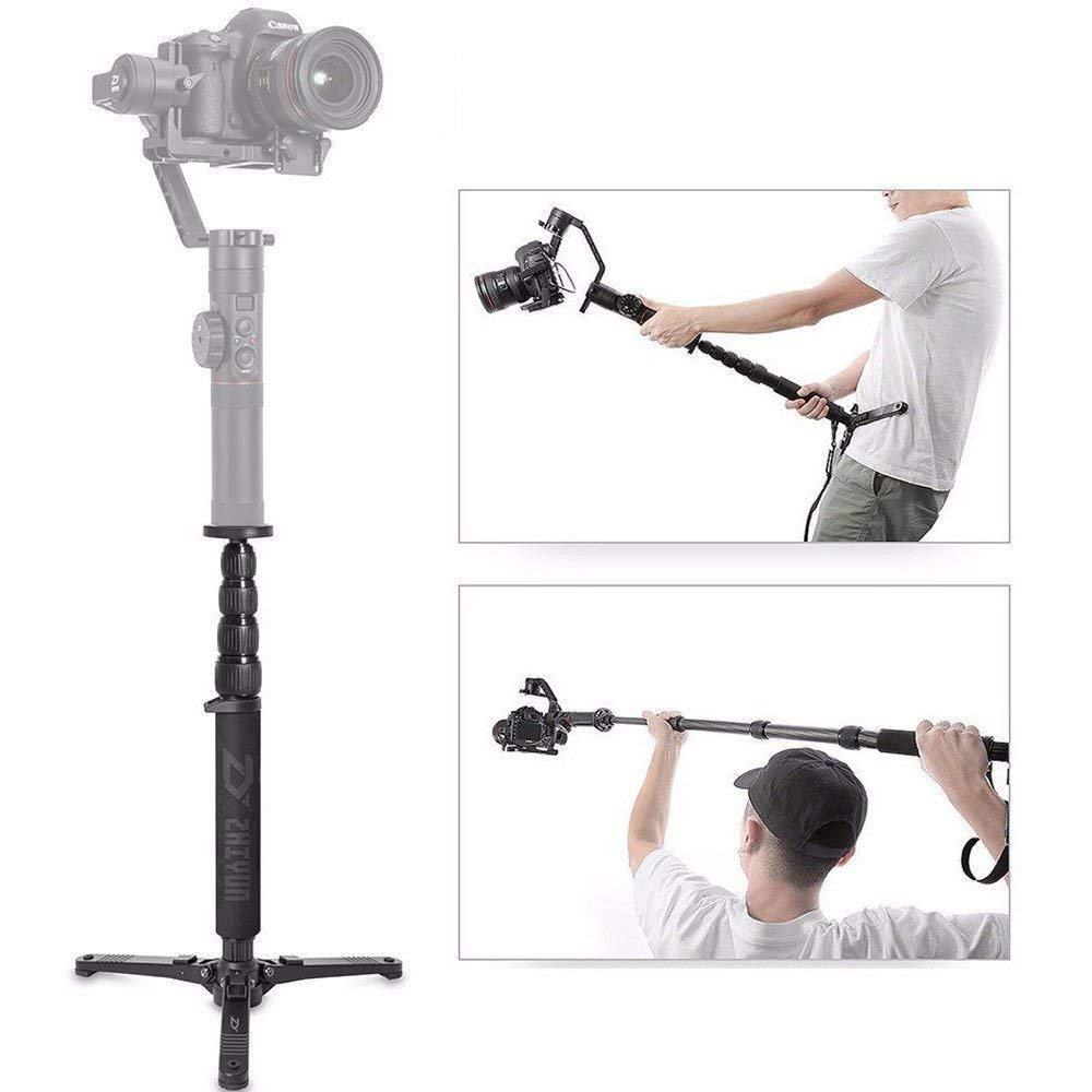 Zhiyun Telescopic Monopod Selfie Stick with Tripod Stand for WEEBILL LAB, Crane 2, Crane Plus, Crane V2, Crane-M MOZA Air MOZA AirCross and Other Handheld Gimbals Weigh Less Than 15LbS by ZY