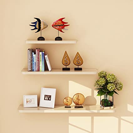 Shelves 3PCS 1 Set Wall Floating Board Shelf Storage Bookshelf Shop DisplayWhite