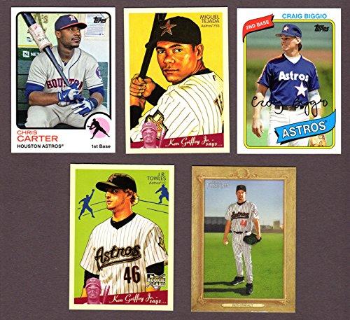 Houston Astros (5) Card Heros REPRINT Vintage Baseball Lot #57 (Miguel Tedaja) (Roy Oswalt) (J.R. Towles) (Chris Carter) (Craig Biggio)