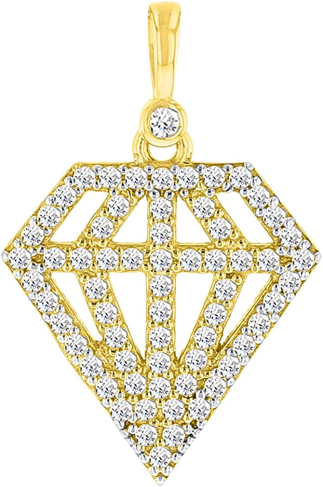 Solid 14k Yellow Gold CZ Studded Diamond Shaped Pendant Necklace