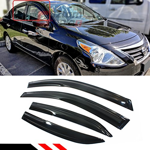 - Cuztom Tuning JDM 3D Style Smoked Window Visor Vent Shade for 2012-2018 Nissan Versa 4 Door Sedan