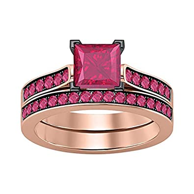 Amazon Com Gems And Jewels 2 75 Ct Princess Cut Created Red Ruby