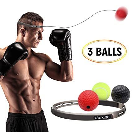 GEJRIO Boxing Reflex Ball on String with Headband, 3 Difficulty Levels Boxing Fight Ball Equipment