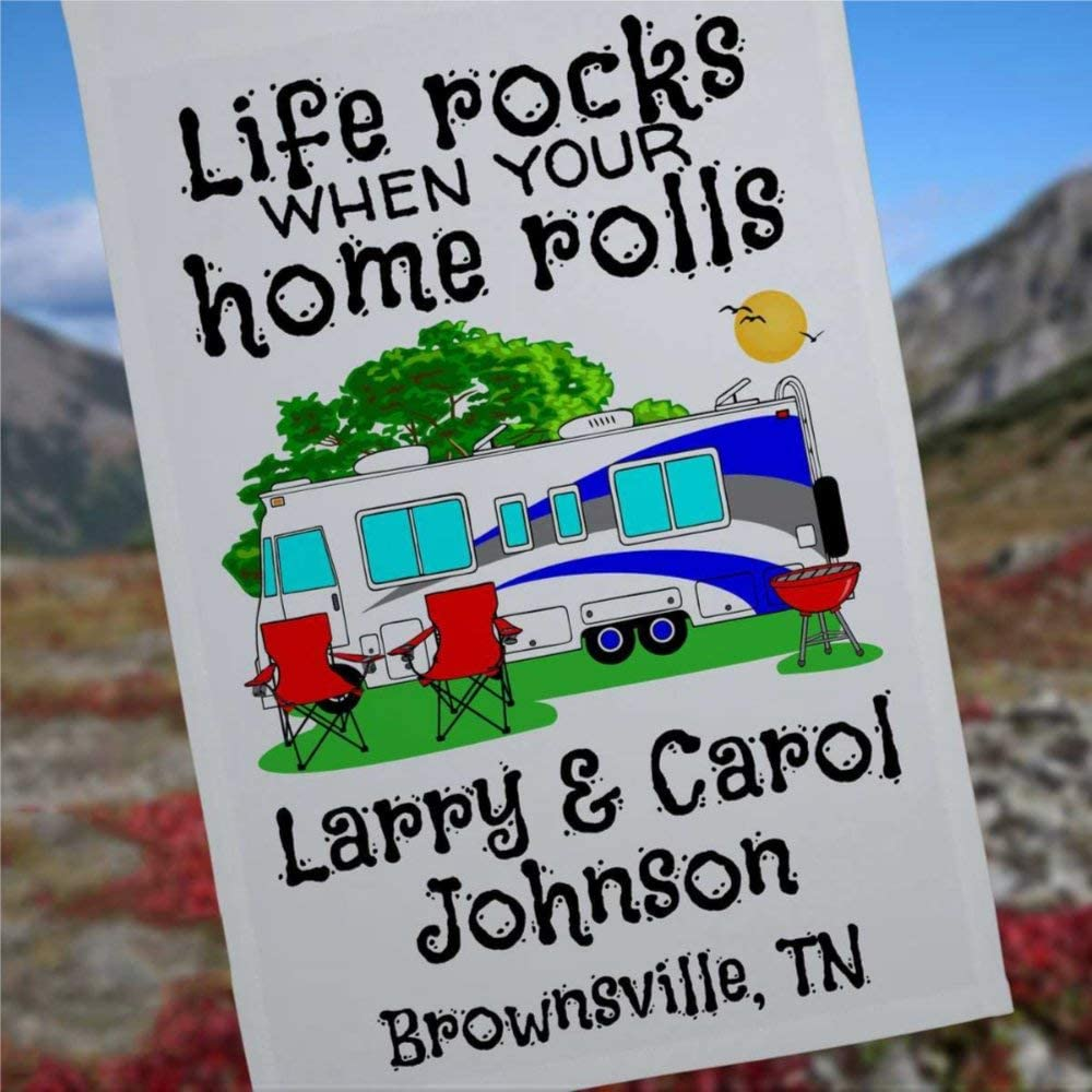 Life Rocks When Your Home Rolls Personalized Class A Motor Home Campsite Flag Camping Banner Camp Sign Camp Decoration Trailer Decor 12x18 inch Yard Flag Farmhouse decor Holiday Outdoor Decor