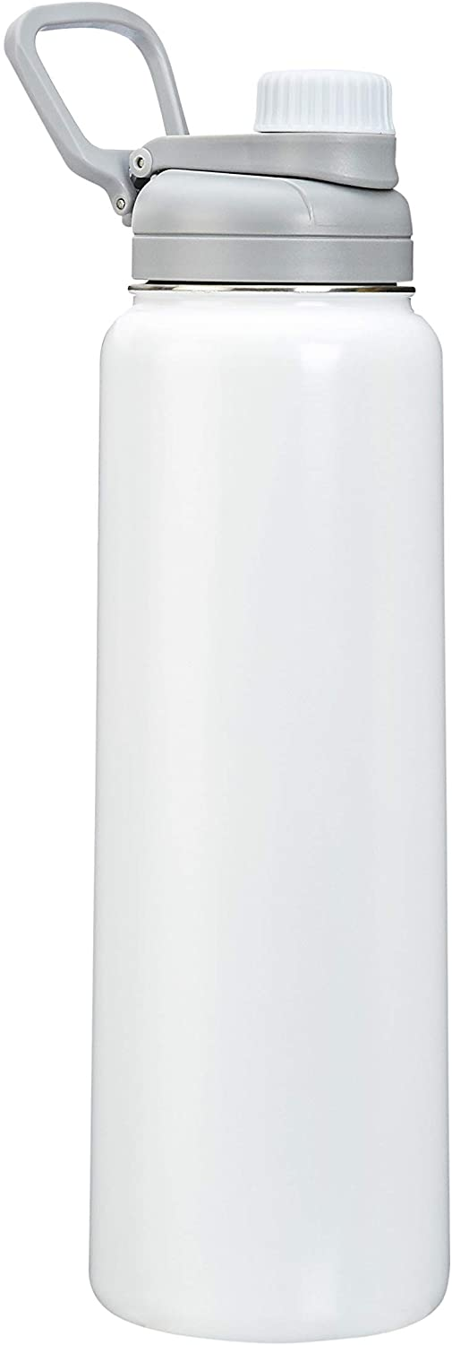 AmazonBasics Stainless Steel Insulated Water Bottle with Spout Lid – 30-Ounce, White
