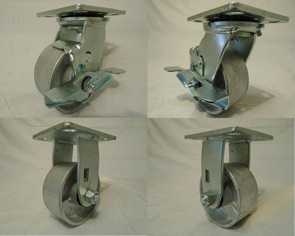 4'' X 2'' Swivel Casters Semi-steel Wheel with Brake (2) and Rigid (2) 700lb Each Tool Box