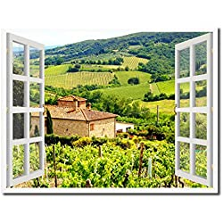 "Wine Vineyards Tuscany Italy Picture French Window Art Framed Print on Canvas Office Wall Home Decor Collection Gift Ideas, 7""x9"""