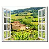 Wine Vineyards Tuscany Italy Picture French Window Art Framed Print on Canvas Office Wall Home Decor Collection Gift Ideas, 7''x9''