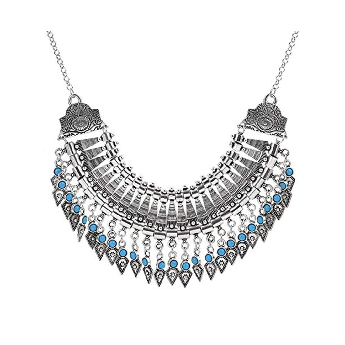Indian Handicrafts Export Shining Diva Fashion Jewellery Oxidised Silver Modern Party Wear Necklace for Women Stylish Necklace for Girls