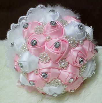 Amazon De Rosa Weiss Perlen Hochzeit Deko Blumenstrauss Rosen