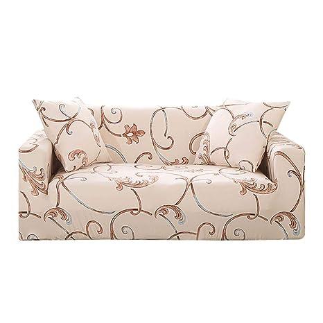 Prosperveil - Fundas de sofá Estampadas de poliéster elástico y Elastano, Fundas para sofá y Muebles, Beige Ivy, 3 Seater