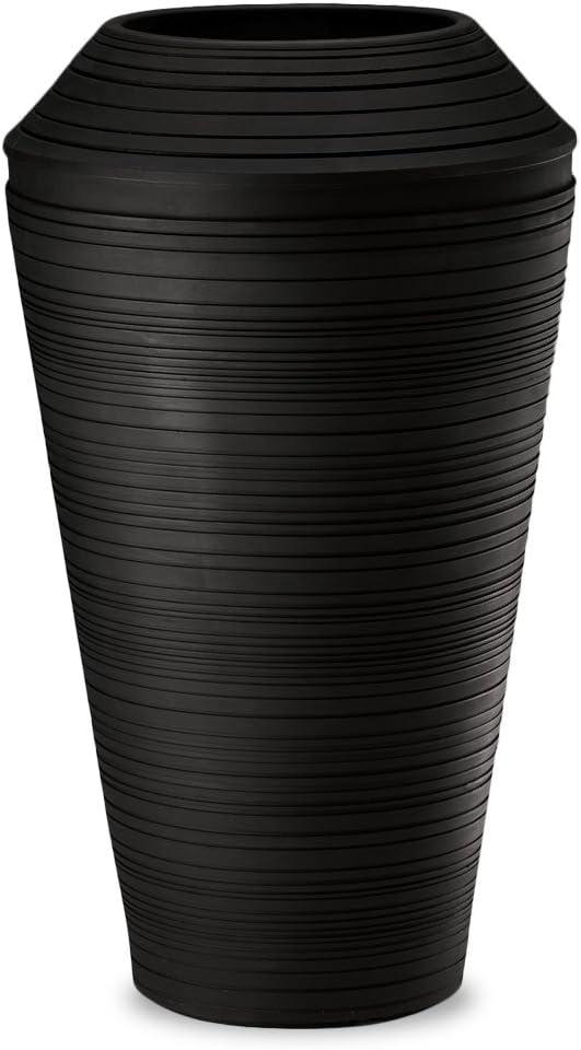 Crescent Garden Daniel Tall Planter, Caviar Black, 21 by 36-Inch