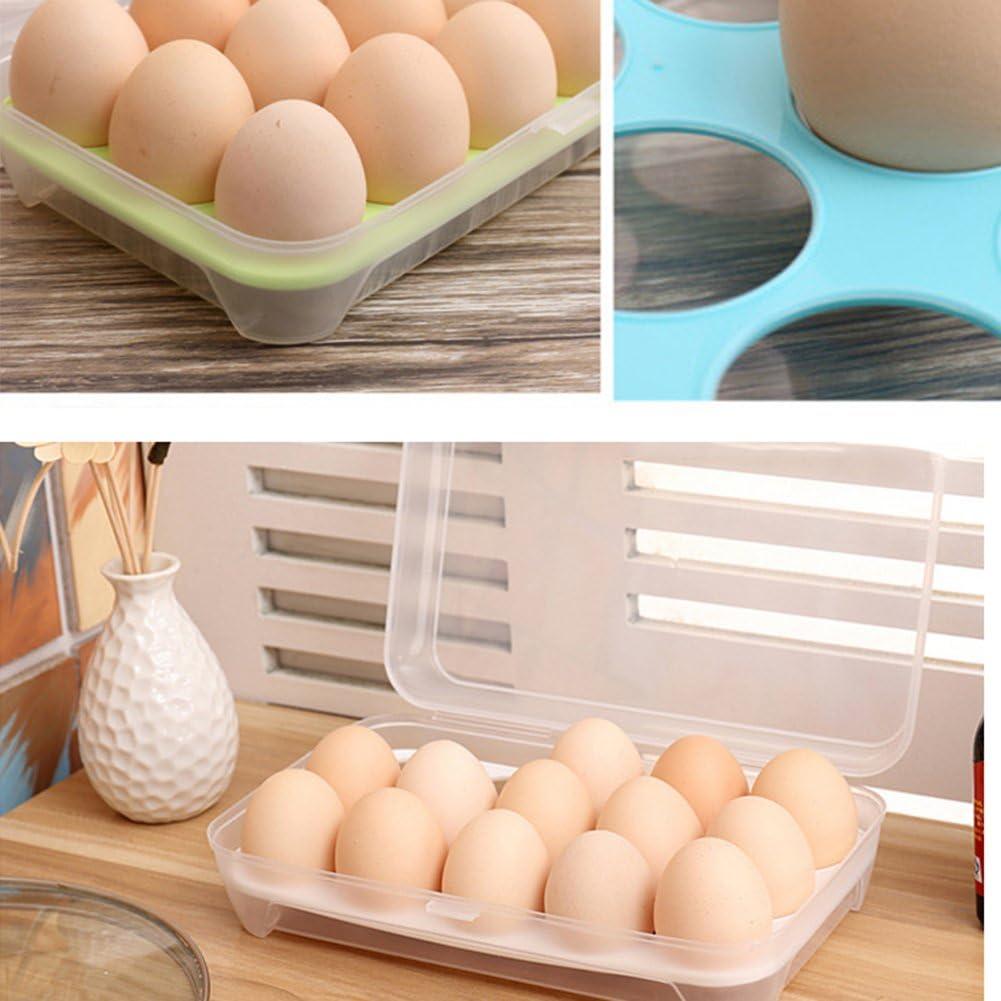 Blue iTemer Eggs Storage Container Plastic Eggs Storage Box Single Layer 15 Grids Non Slip Refrigerator Cover Portable Egg Case 1 PC