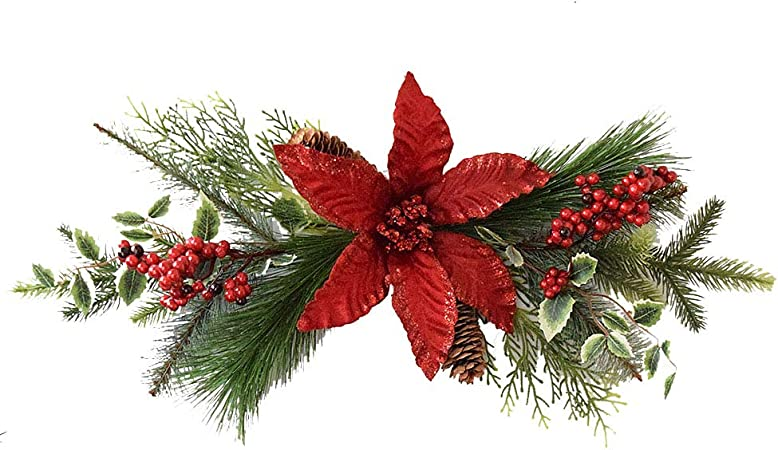 Etase Christmas Swag Teardrop Door Artificial Pine Needles with Red Berry for Holiday Christmas Wall Hanging Decor