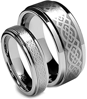 Matching Tungsten Wedding Band Set Infinity Ring Set for His and