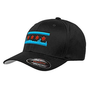 9128dd39aaa Chicago Skyline Flag Flexfit Premium Classic Yupoong Wooly Combed Hat 6277  LR (S M