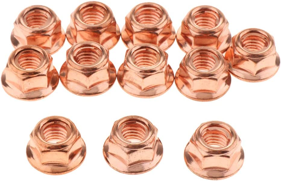 12x Copper Flashed Steel Exhaust Manifold Turbo Nuts M8 for BMW 3 Series E30