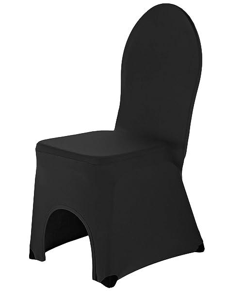 SCHEFFLER-Home Bella 2 Fundas de sillas del Banquete, Estirable Cubiertas, elástica Funda con pie Refuerzos, Negro