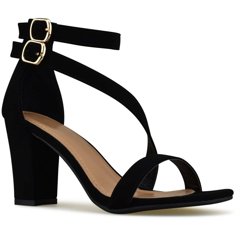 Premier Standard - Womens Strappy Open Toe High Chunky Heel - Sexy Stacked Wooden Heel Sandal - Cute Strappy Shoe, TPS Heels-7Neleh Black Size 10