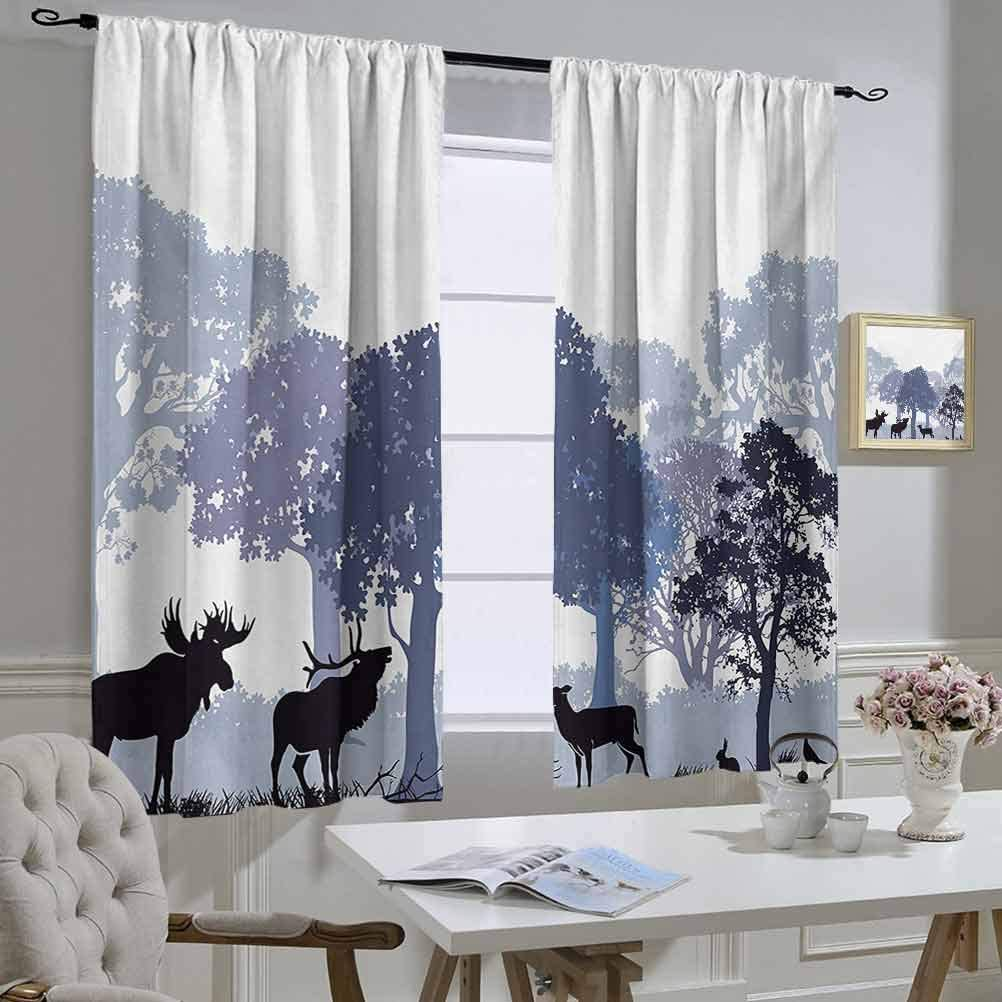 Moose 8x10 FT Photo Backdrops,Forest Design Abstract Woods North American Wild Animals Deer Hare Elk Trees Background for Baby Shower Bridal Wedding Studio Photography Pictures Black White Grey
