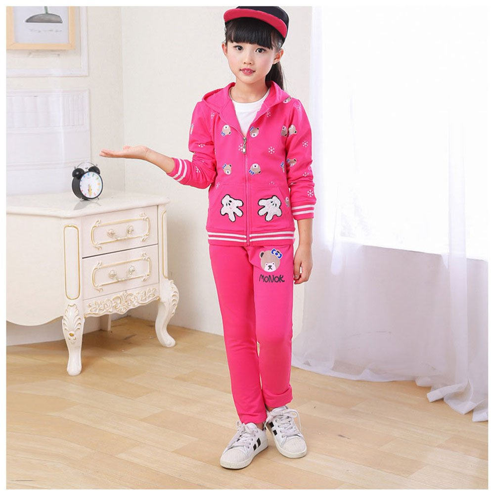 M/&A Girls Cotton Tracksuit 3 Pieces Sweatsuit Outfits Zip Jacket Shirt and Pants Set