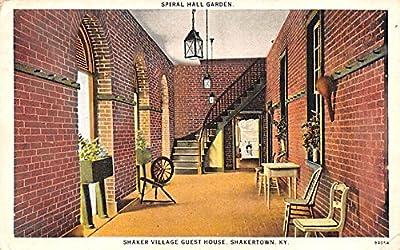 Spiral Hall Garden, guest house Shakertown, Kentucky KY USA Shaker Postcard