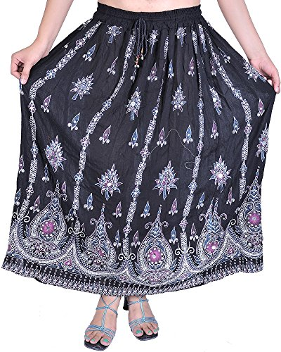 Exotic India Long Falda with Printed Flowers and Embroidered lentejuelas negro